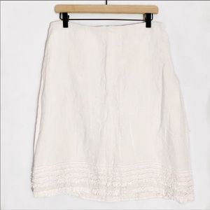 Eileen Fisher | White Linen Ruffle Skirt S
